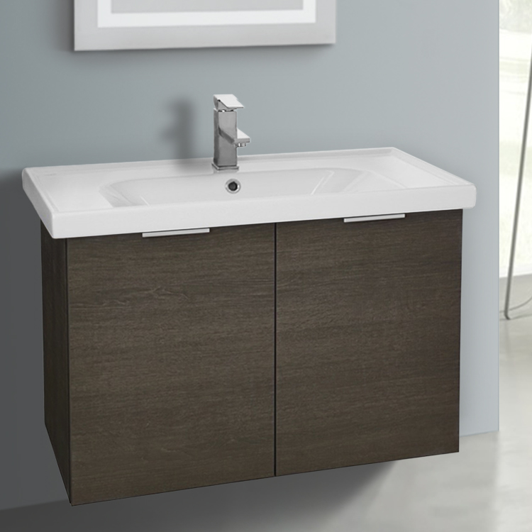 Bathroom Vanity, ARCOM LAM06, 31 Inch Wall Mount Grey Oak Vanity Cabinet With Fitted Sink