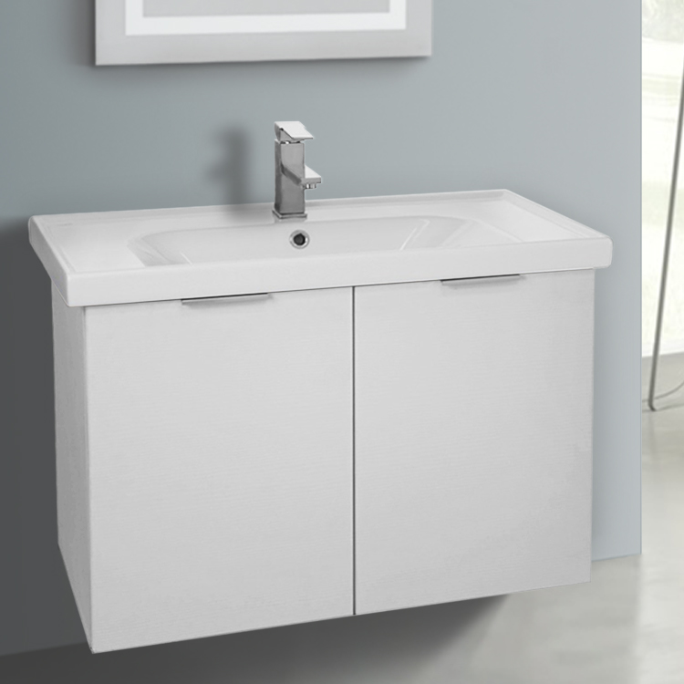 Bathroom Vanity, ARCOM LAM05, 31 Inch Wall Mount Larch White Vanity Cabinet  With Fitted