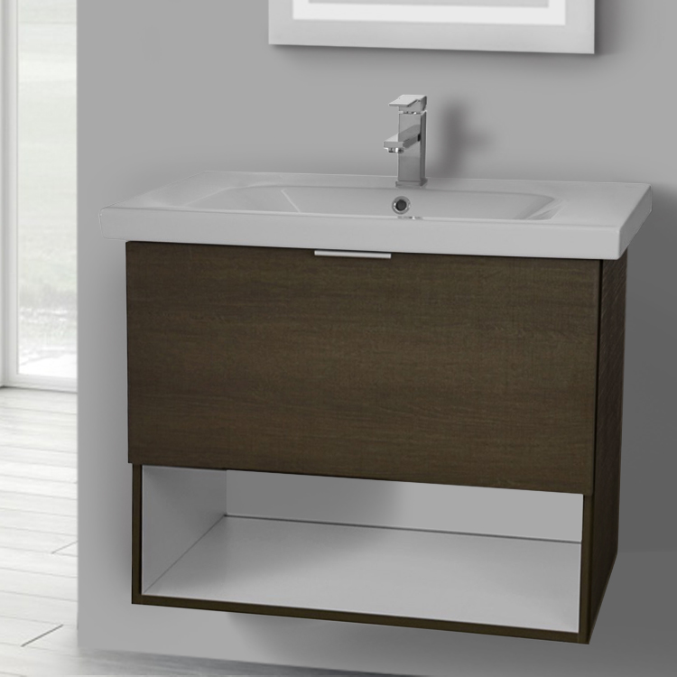 Bathroom Vanity, ARCOM OP03, 32 Inch Wall Mount Grey Oak Vanity Set, 1 Drawer and Open Space