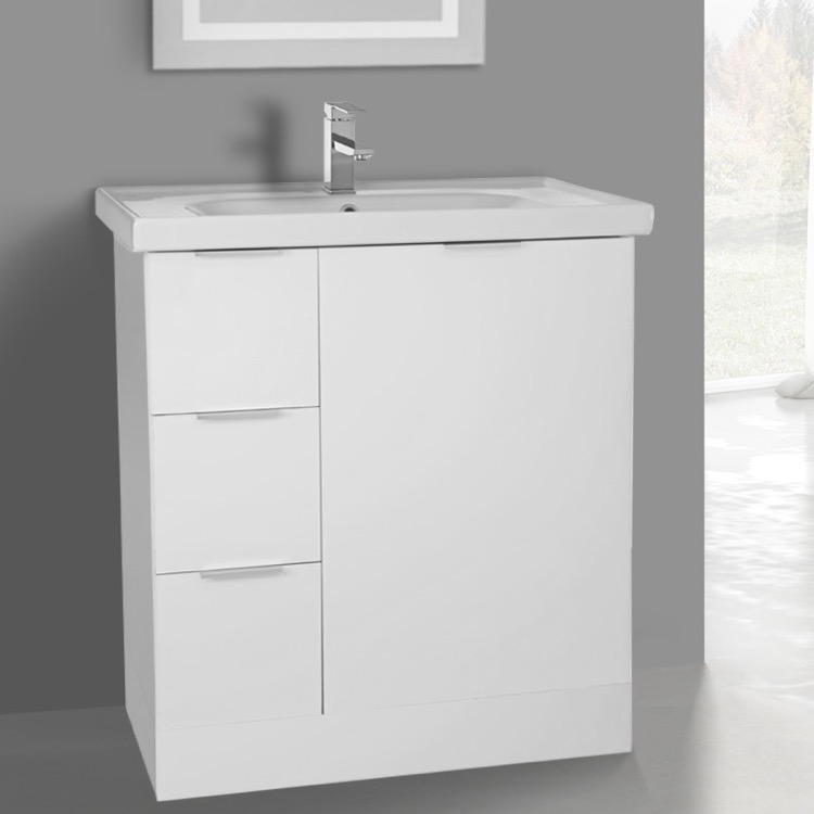 Bathroom Vanity, ARCOM WA03, 31 Inch Floor Standing Glossy White Vanity Cabinet With Fitted Sink