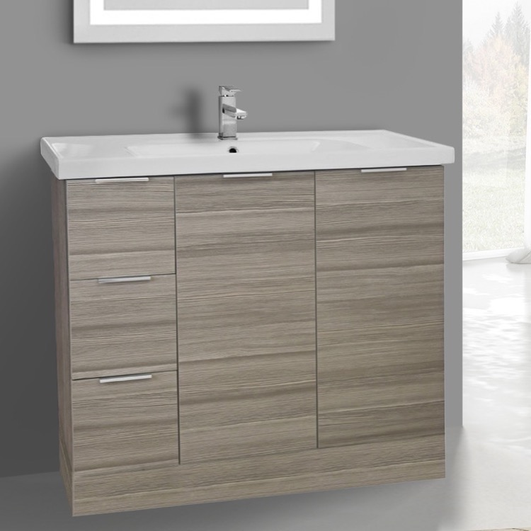 Bathroom Vanity, ARCOM WA05, 39 Inch Floor Standing Larch Canapa Vanity Cabinet With Fitted Sink
