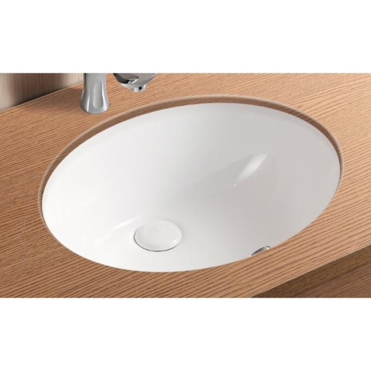 Bathroom Sink, Caracalla CA908 18, Oval White Ceramic Undermount Bathroom  Sink