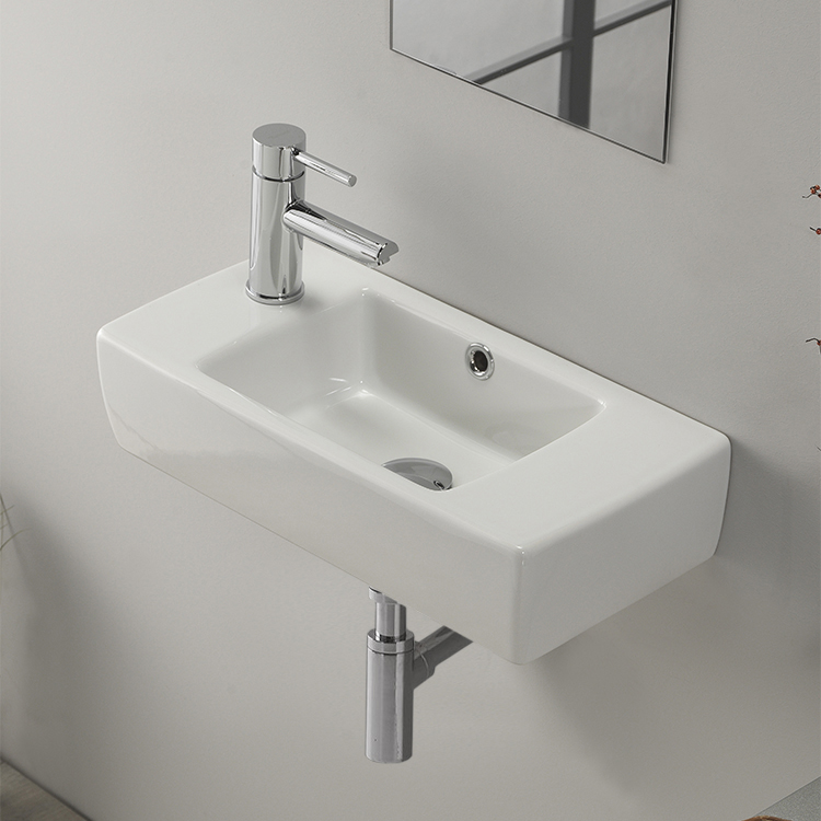 Delicieux Bathroom Sink, CeraStyle 001600 U, Small Rectangular Ceramic Wall Mounted  Or Drop In