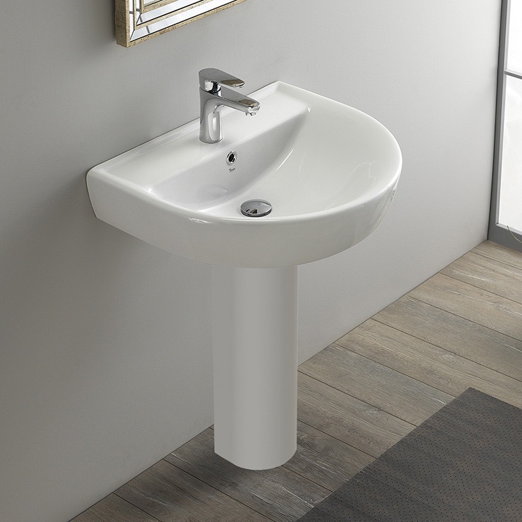 Bathroom Sink, CeraStyle 003100U-PED, Round White Ceramic Pedestal Sink