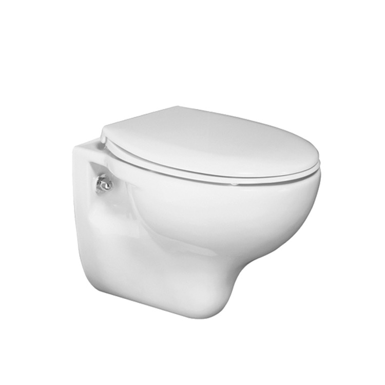 Milano Newby One-Piece Suspended Space Saving WC and Soft Close Seat Round Wall-Hung White Ceramic Toilet