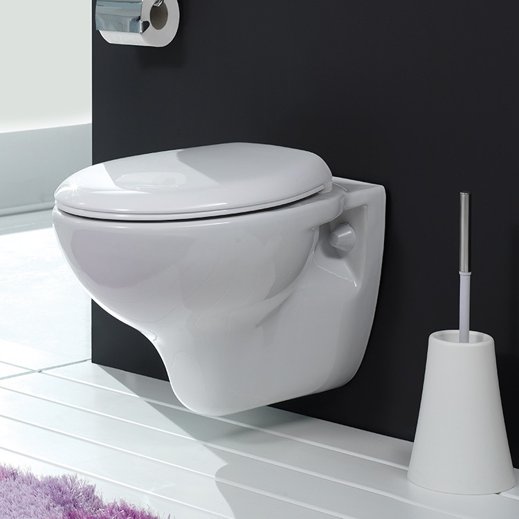 Toilet, CeraStyle 018400, Round White Ceramic Wall Mount Toilet