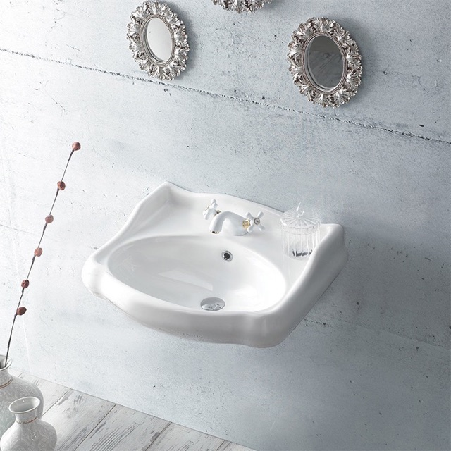 Bathroom Sink, CeraStyle 030200-U, Classic-Style White Ceramic Wall Mounted Sink