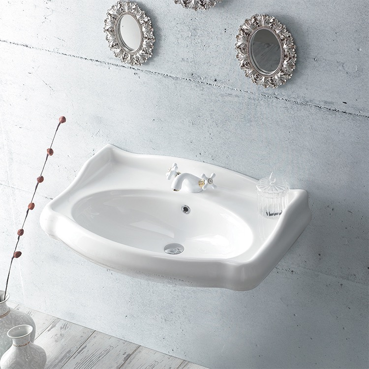 Bathroom Sink, CeraStyle 030300-U, Rectangle White Ceramic Wall Mounted Sink