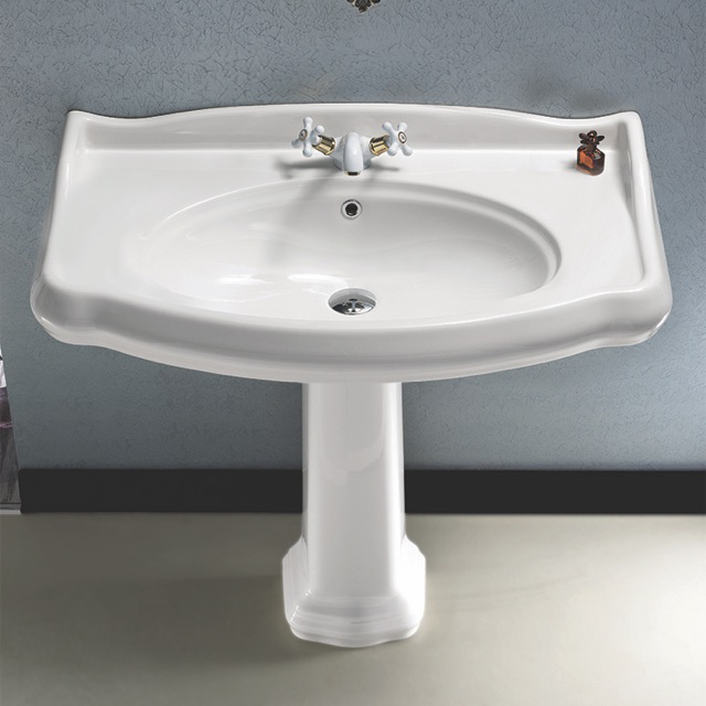 Bathroom Sink, CeraStyle 030400-PED, Classic-Style White Ceramic Pedestal Sink