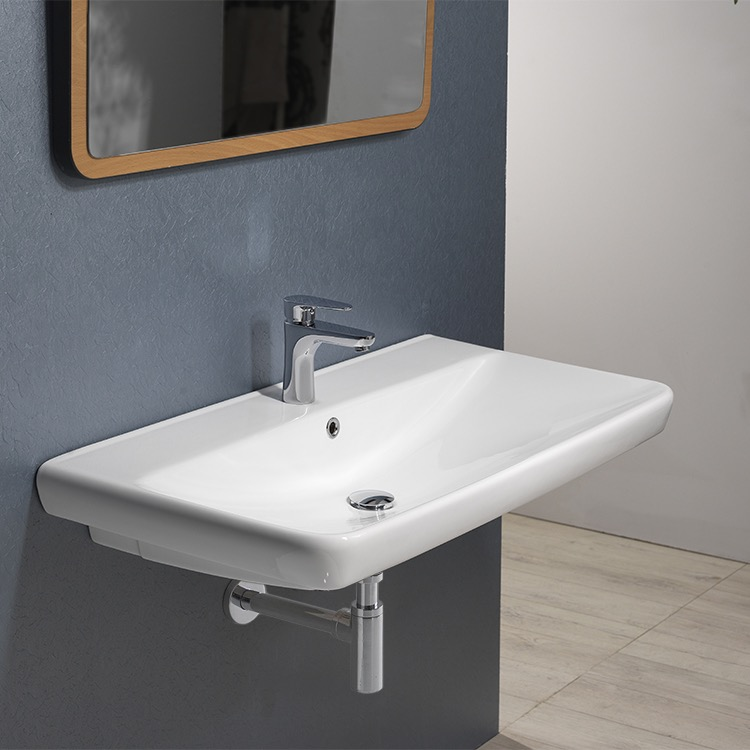Bathroom Sink, CeraStyle 030500-U, Rectangle White Ceramic Wall Mounted or Drop In Sink