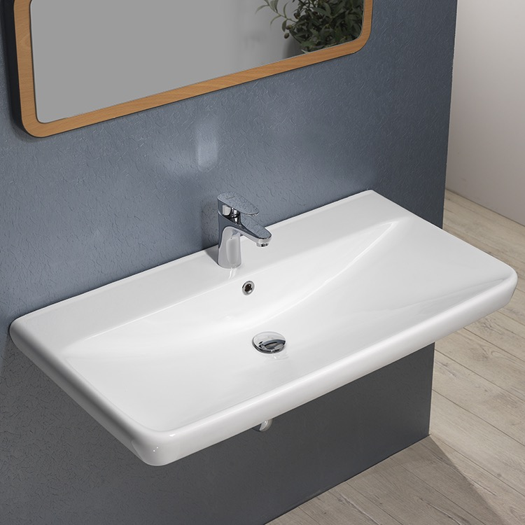 Bathroom Sink, CeraStyle 030700-U, Rectangle White Ceramic Wall Mounted or Drop In Sink