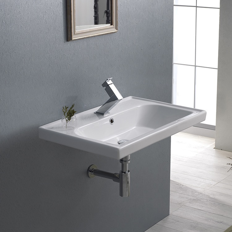 Bathroom Sink, CeraStyle 031000-U, Rectangle White Ceramic Wall Mounted or Drop In Sink