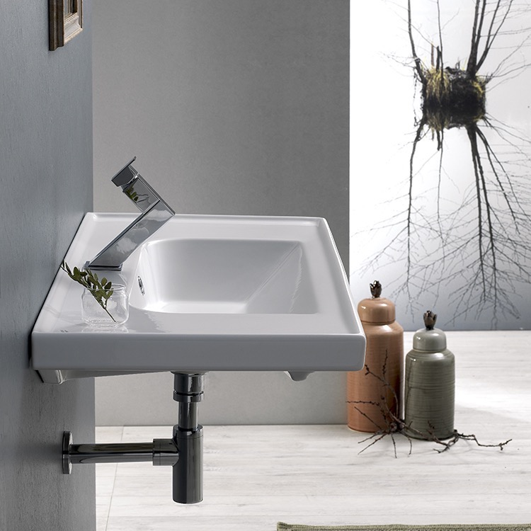 Bathroom Sink, CeraStyle 031200-U, Rectangle White Ceramic Wall Mounted or Drop In Sink