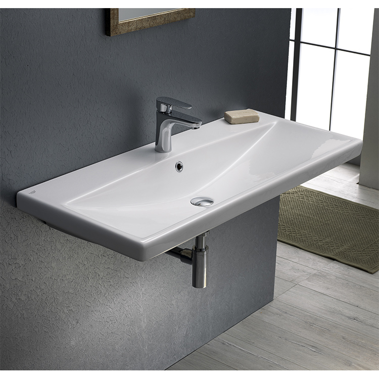 Bathroom Sink, CeraStyle 032200-U, Rectangle White Ceramic Wall Mounted or Drop In Sink
