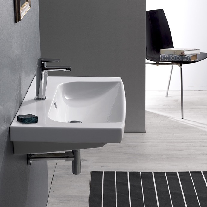 Bathroom Sink, CeraStyle 034100 U, Rectangle White Ceramic Wall Mounted Or  Drop In
