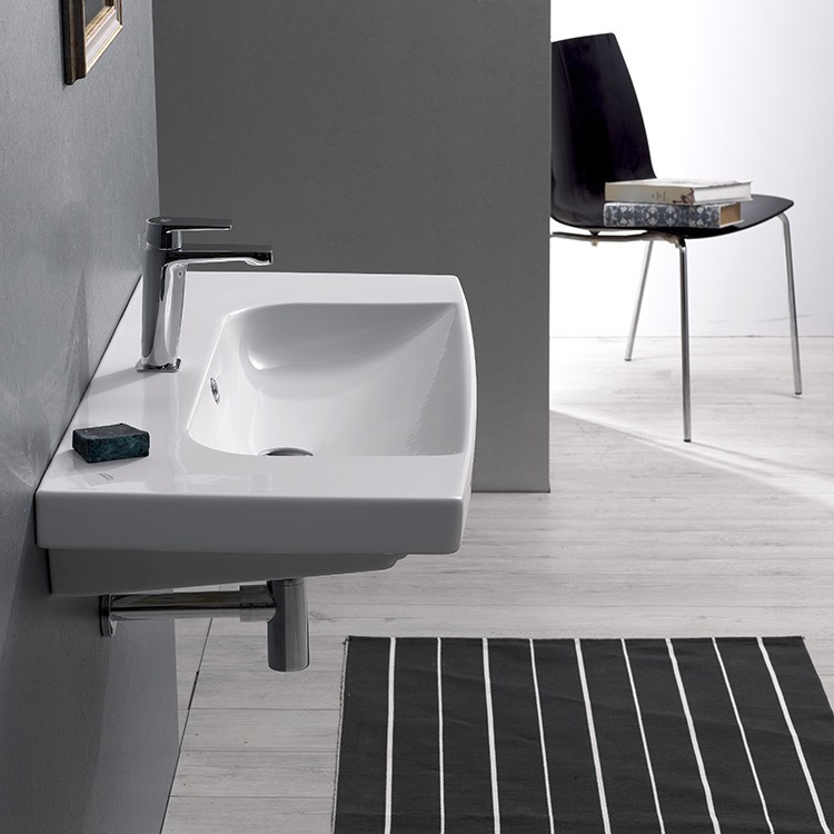 Bathroom Sink, CeraStyle 034400-U, Rectangle White Ceramic Wall Mounted or Drop In Sink