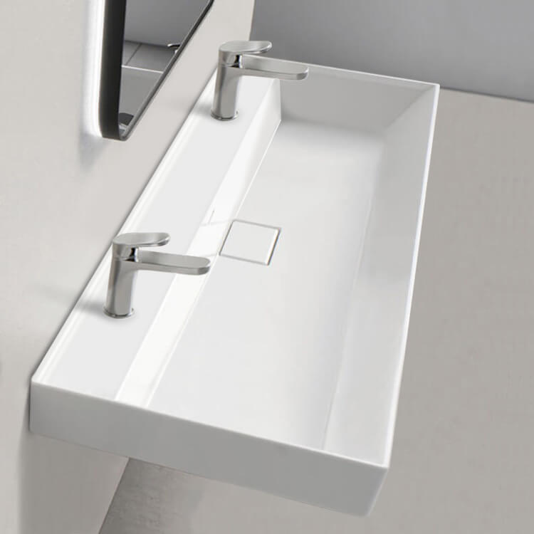 Bathroom Sink, CeraStyle 037600-U, Trough Ceramic Wall Mounted or Drop In Sink