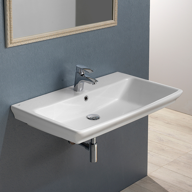 Bathroom Sink, CeraStyle 040100-U, Rectangle White Ceramic Wall Mounted or Drop In Sink