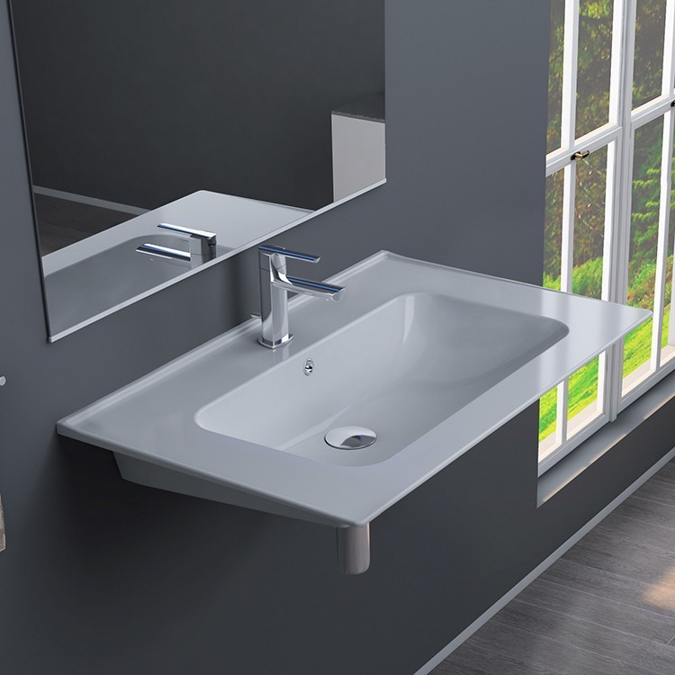 Bathroom Sink, CeraStyle 042000-U, Rectangular White Ceramic Wall Mounted or Drop In Sink