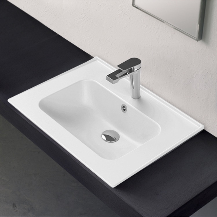 Bathroom Sink, CeraStyle 042000-U, Rectangle White Ceramic Drop In or Wall Mounted Sink