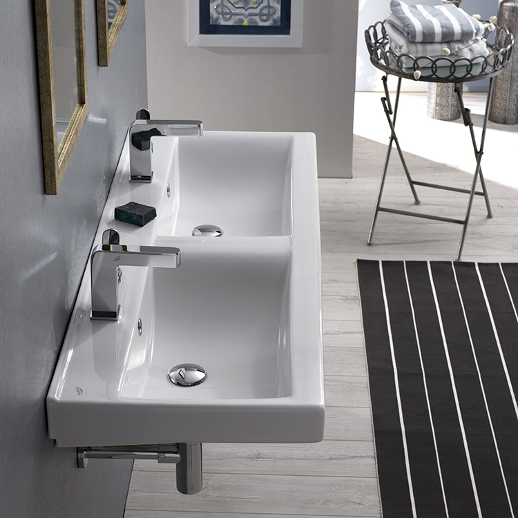 Bathroom Sink, CeraStyle 064700-U, Rectangular Double White Ceramic Wall Mounted or Drop In Sink