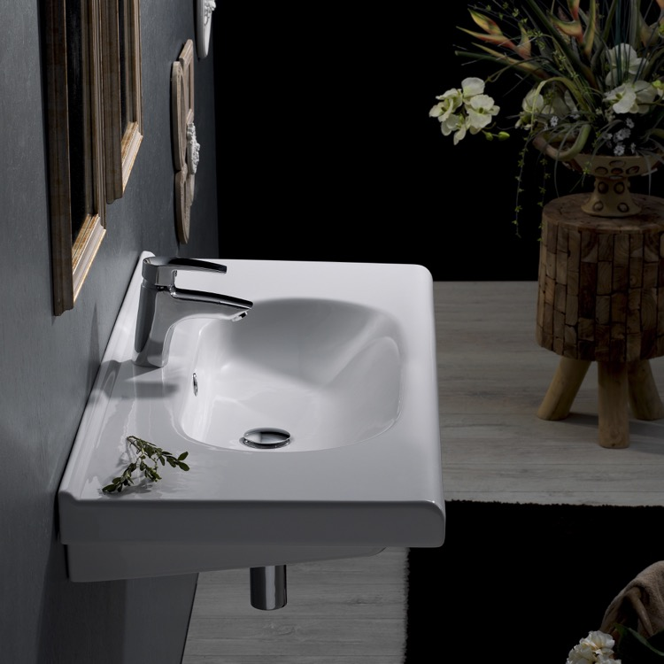 Bathroom Sink, CeraStyle 069100 U, Rectangle White Ceramic Wall Mounted Sink  Or Drop