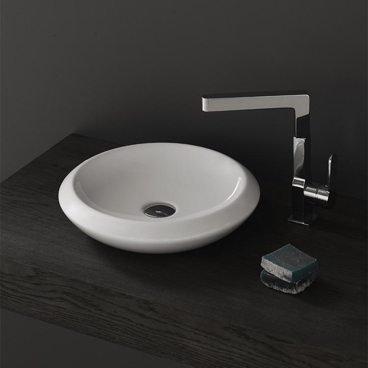 Bathroom Sink, CeraStyle 075100 U, Round White Ceramic Vessel Sink
