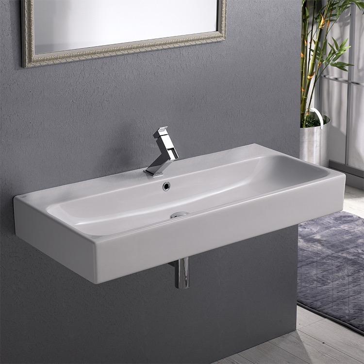 Bathroom Sink, CeraStyle 080300 U, Rectangular White Ceramic Wall Mounted  Or Vessel Sink