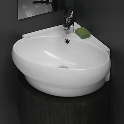 Bathroom Sink, CeraStyle 002000-U, Round Corner White Ceramic Wall Mounted or Vessel Sink