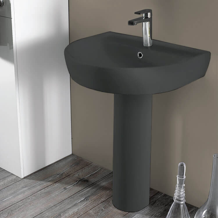 Bathroom Sink, CeraStyle 007809U-97-PED, Round Matte Black Ceramic Pedestal Sink
