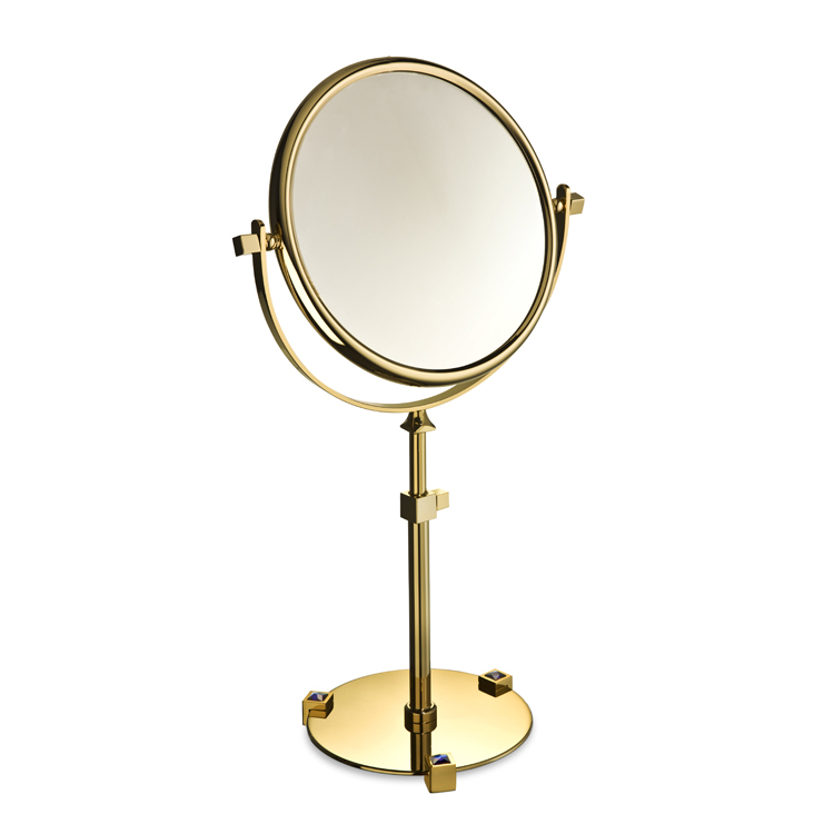 Makeup Mirror, Windisch 99526A, Chrome or Gold Pedestal Double Face with Blue Crystals 3x or 5x Magnifying Mirror