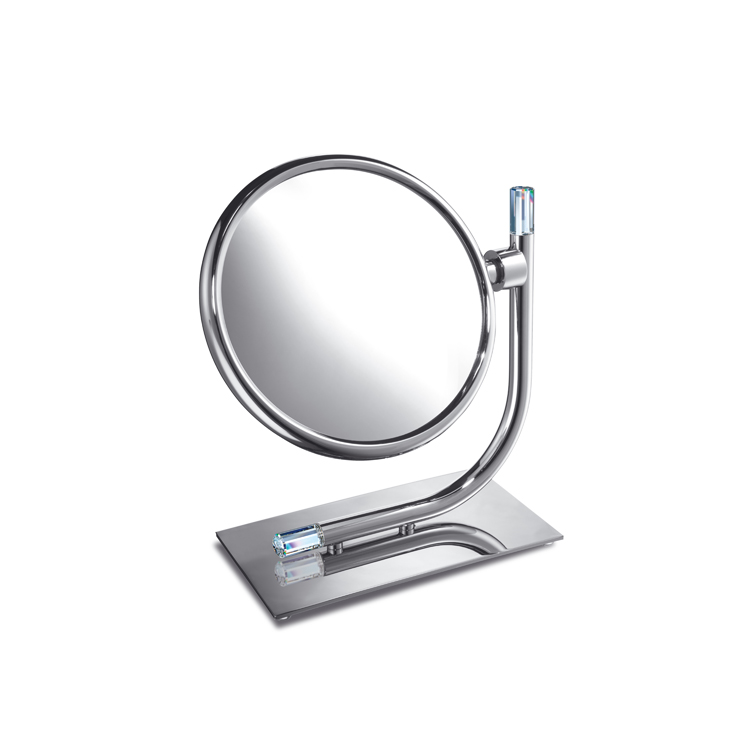 Makeup Mirror, Windisch 99636, Brass Double Face 3x or 5x Magnifying Mirror with Swarovski Crystal