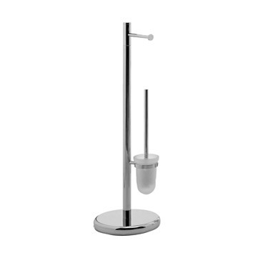 Bathroom Butler, Gedy 2732-13, Free Standing Chrome Toilet Paper Holder And Toilet Brush Holder Stand