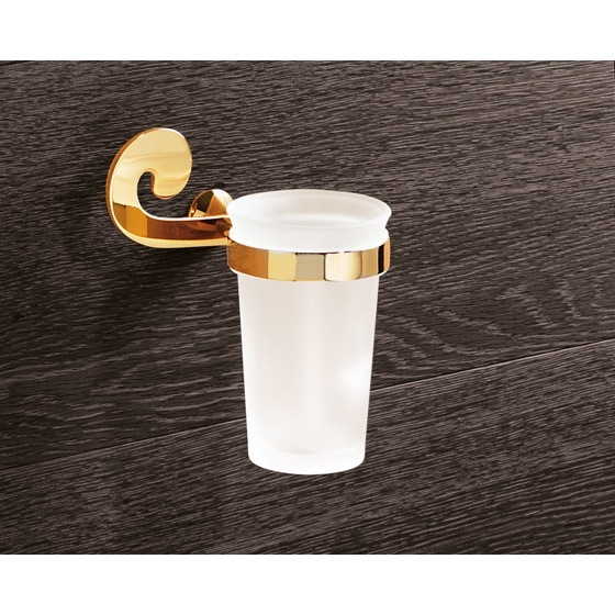 Toothbrush Holder, Gedy 3310-87, Wall Mounted Frosted Glass Toothbrush Holder With Gold Mounting