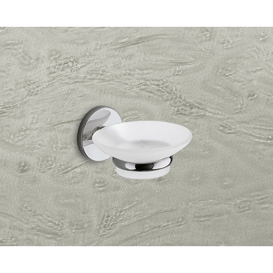 Soap Dish, Gedy 4211-13, Wall Mounted Frosted Glass Soap Dish With Chrome Mounting