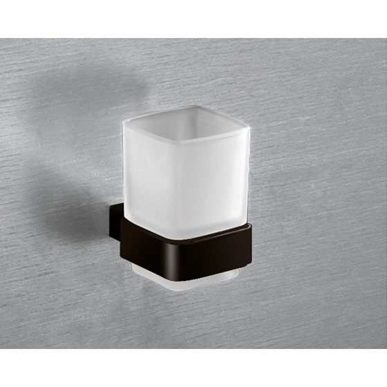 Toothbrush Holder, Gedy 5410-M4, Wall Mounted Frosted Glass Toothbrush Holder With Matte Black Mounting