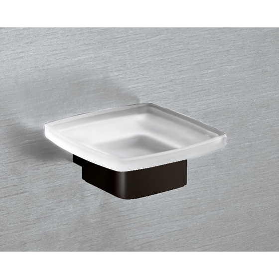 Soap Dish, Gedy 5411-M4, Wall Mounted Frosted Glass Soap Dish With Matte Black Base