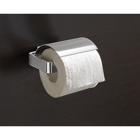 Toilet Paper Holder, Gedy 5425-13, Square Polished Chrome Toilet Roll Holder With Cover