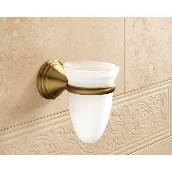 Toothbrush Holder, Gedy 7510-44, Wall Mounted Frosted Glass Toothbrush Holder With Bronze Mounting