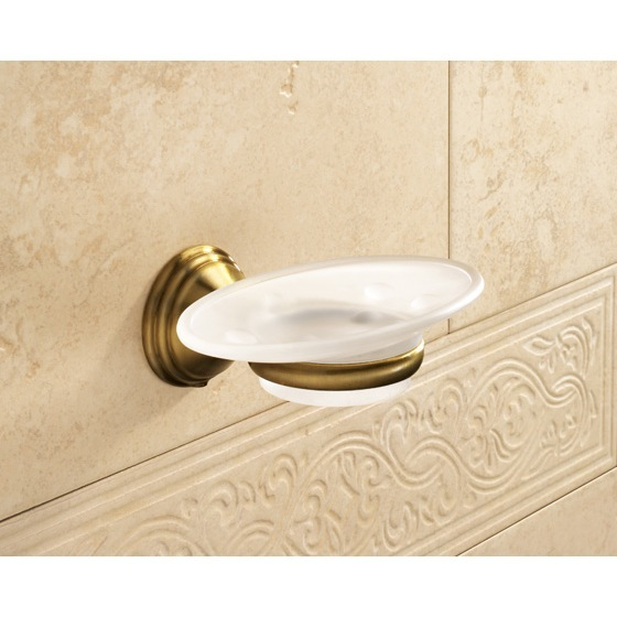 Soap Dish, Gedy 7511-44, Wall Mounted Frosted Glass Soap Dish With Bronze Mounting