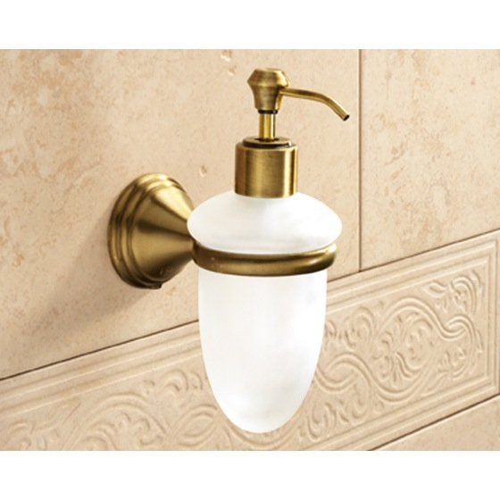 Soap Dispenser, Gedy 7581-44, Wall Mounted Frosted Glass Soap Dispenser With Bronze Mounting