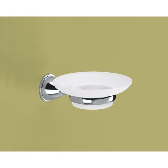 Soap Dish, Gedy GE11-13, Wall Mounted Frosted Glass Soap Dish With Chrome Mounting