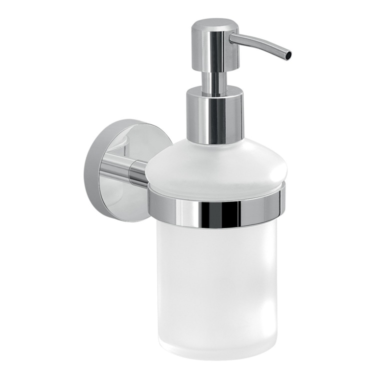 Soap Dispenser, Gedy 2381-13, Frosted Glass Soap Dispenser With Wall Mount