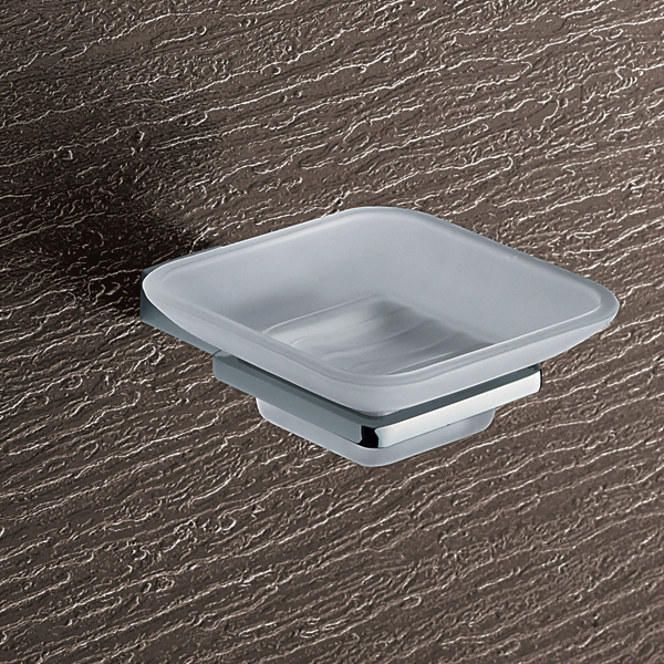 Soap Dish, Gedy 3811-13, Wall Mounted Frosted Glass Soap Dish With Chrome Mounting