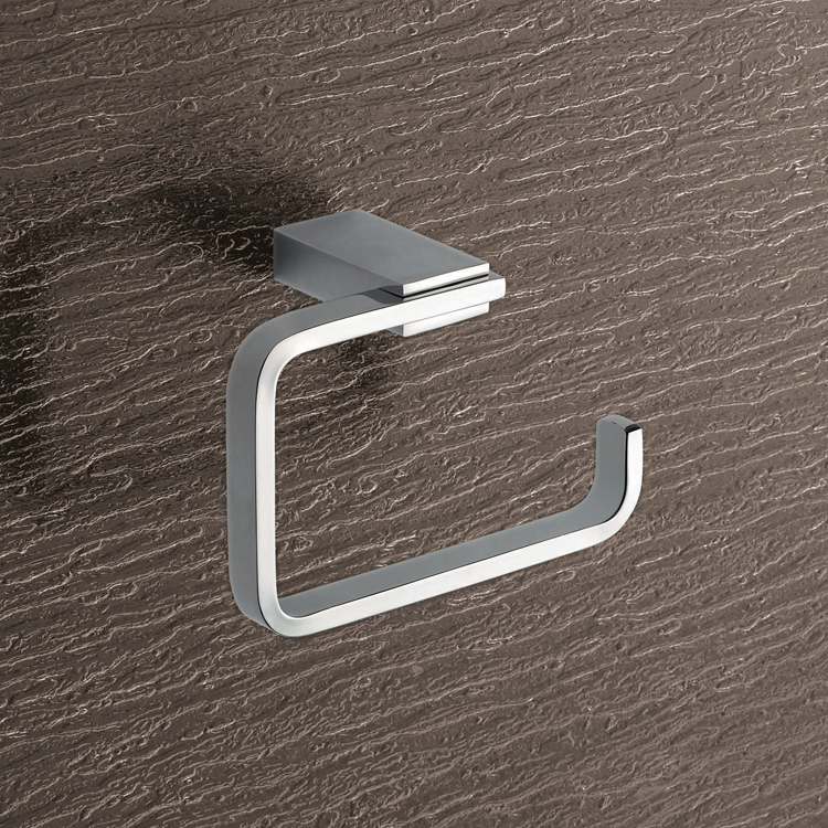 Toilet Paper Holder, Gedy 3824-13, Square Brass Toilet Paper Holder In Polished Chrome