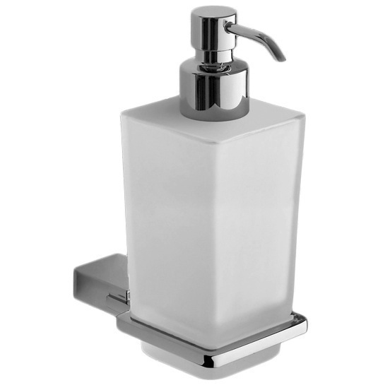 Soap Dispenser, Gedy 3881-13, Wall Mounted Square Frosted Glass Soap Dispenser