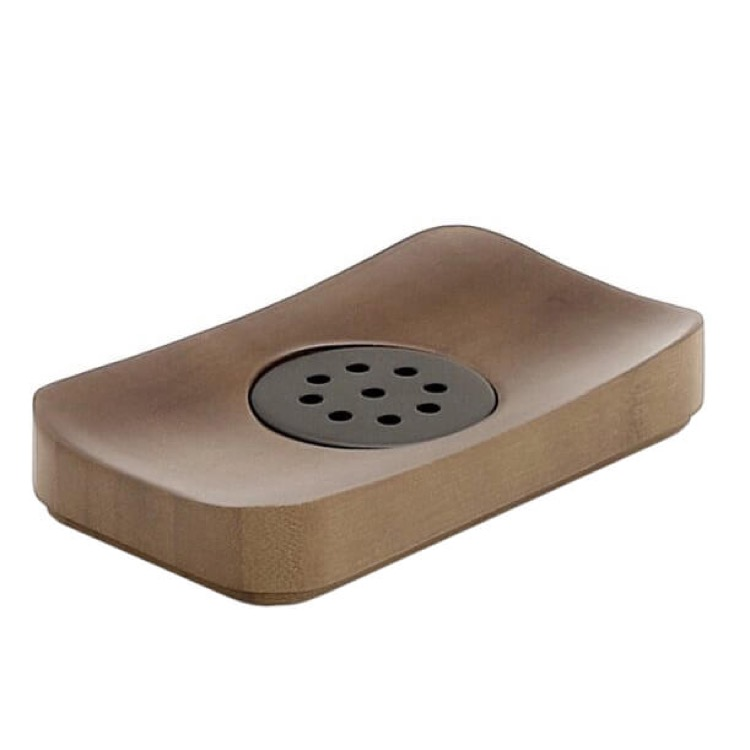 Soap Dish, Gedy 3911-30, Walnut Free Standing Soap Dish