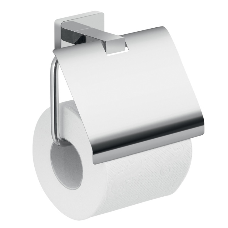 Toilet Paper Holder, Gedy 4425-13, Wall Mounted Chrome Toilet Paper Holder With Cover