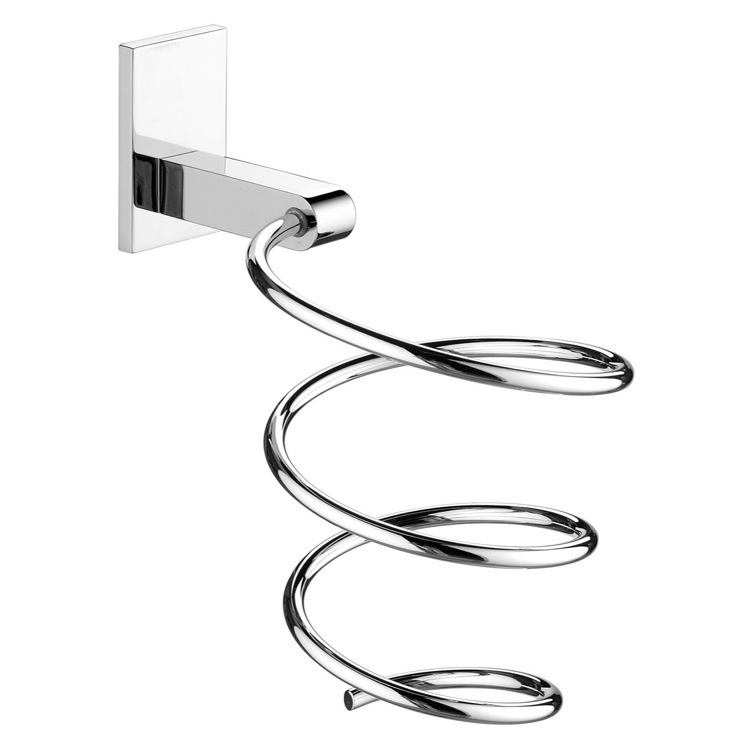 Hair Dryer Holder, Gedy 5056-13, Large Chrome Wall Mounted Spiral Hair Dryer Holder