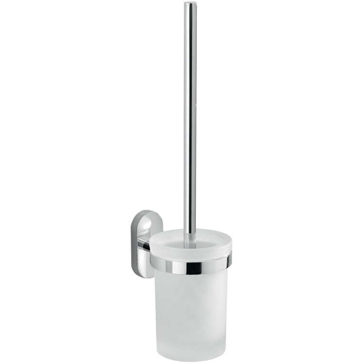 Toilet Brush, Gedy 5333-03-13, Wall Mounted Frosted Glass Toilet Brush Holder